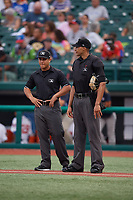 Umpires Rainiero Valero (left) and Jon-Tyler Shaw during a NY-Penn League game between the Tri-City ValleyCats and Brooklyn Cyclones on August 17, 2019 at MCU Park in Brooklyn, New York.  Brooklyn defeated Tri-City 2-1.  (Mike Janes/Four Seam Images)