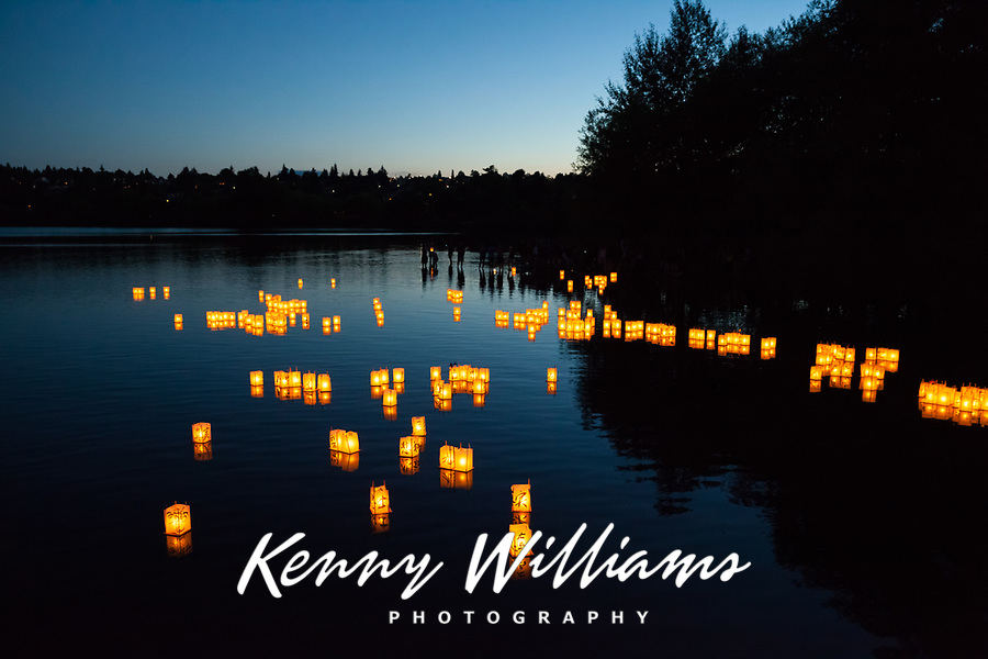 Toro Nagashi Lantern Floating Ceremony, From Hiroshima to Hope 2015, Green Lake, Seattle, Washington State, WA.