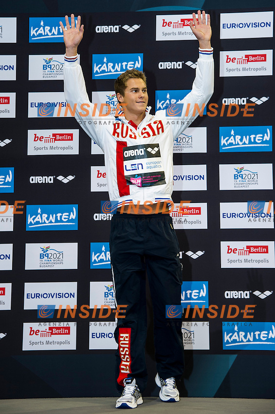 MOROZOV Vladimir V RUS Gold Medal<br /> 50m Backstroke Men Final<br /> 32nd LEN European Championships <br /> Berlin, Germany 2014  Aug.13 th - Aug. 24 th<br /> Day09 - Aug. 21<br /> Photo G. Scala/Deepbluemedia/Inside