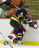 Carter Madsen (Merrimack - 9), Daniel Moriarty (Harvard - 11) - The visiting Merrimack College Warriors defeated the Harvard University Crimson 3-1 (EN) at Bright Hockey Center on Tuesday, November 30, 2010.