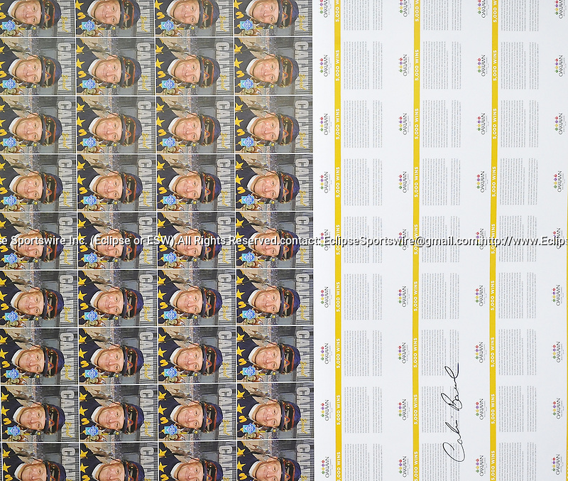 Jan. 07, 2013 - Little Rock, Arkansas, U.S -  A sheet of trading cards that are being printing to commemorate Calvin Borel's 5000th career victory which will take place at Oaklawn Park during the 2013 season. (Credit Image: © Jimmy Jones/Eclipse/ZUMAPRESS.com)