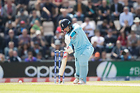 Joe Root (England) drives through the covers for four during England vs West Indies, ICC World Cup Cricket at the Hampshire Bowl on 14th June 2019