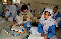 Peshawar / Pakistan.Female school for afghan girls fled in Pakistan because of the ongoing war between the Taliban and troops of NATO Coalition..Photo Livio Senigalliesi
