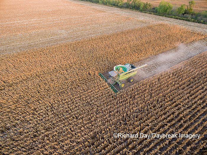 63801-08419 Corn Harvest, John Deere combine harvesting corn - aerial Marion Co. IL