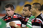 Grant Henson gets congratulated by Simon Lemalu & Tevita Tuifua after scoring a try during the Air New Zealand rugby game between Counties Manukau Steelers & Manawatu, played at Mt Smart Stadium on the 22nd of September 2006. Counties Manukau 25 - Manawatu 25.