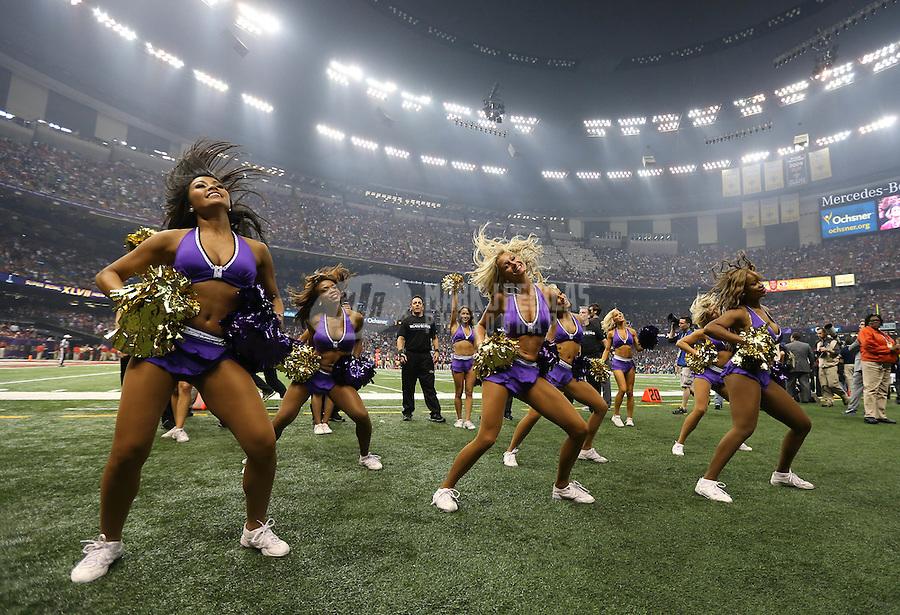 Feb 3, 2013; New Orleans, LA, USA; Baltimore Ravens cheerleaders perform in Super Bowl XLVII against the San Francisco 49ers at the Mercedes-Benz Superdome. Mandatory Credit: Mark J. Rebilas-