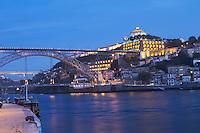 Dom Luis I bridge seen from Cais da Ribeira Na Sra da serra do pilar monastery vila nova de gaia porto portugal