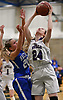 Gillian Kenah #24 of Port Jefferson, right, scores on a putback after grabbing an offensive rebound in the NYSPHSAA varsity girls basketball Class C Southeast Regional Final against Haldane at SUNY Old Westbury on Thursday, March 9, 2017. She scored 10 points in the Lady Royals' 43-30 win.