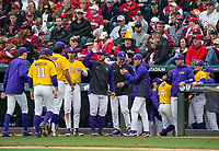 NWA Democrat-Gazette/BEN GOFF @NWABENGOFF<br /> LSU players return to the dugout after a double play to end the 6th inning vs Arkansas Saturday, May 11, 2019, at Baum-Walker Stadium in Fayetteville.