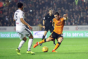 3rd November 2017, Molineux, Wolverhampton, England; EFL Championship football, Wolverhampton Wanderers versus Fulham; Diogo Jota of Wolverhampton Wanderers gets a strike on goal