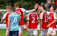 Fleetwood Town's Cian Bolger is congratulated by Chris Long after opening the scoring <br /> <br /> Photographer Alex Dodd/CameraSport<br /> <br /> The EFL Sky Bet League One - Fleetwood Town v Accrington Stanley - Saturday 15th September 2018  - Highbury Stadium - Fleetwood<br /> <br /> World Copyright &copy; 2018 CameraSport. All rights reserved. 43 Linden Ave. Countesthorpe. Leicester. England. LE8 5PG - Tel: +44 (0) 116 277 4147 - admin@camerasport.com - www.camerasport.com