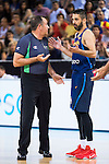 Spain's basketball player Juan Carlos Navarro talking with the referee during the  match of the preparation for the Rio Olympic Game at Madrid Arena. July 23, 2016. (ALTERPHOTOS/BorjaB.Hojas)