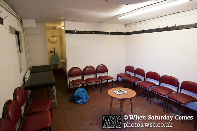 Bacup Borough 4 Holker Old Boys 1, 25/04/2016. Brain Boys West View Stadium, NorthWest Counties League Division One. The away team dressing rooms at the Brain Boys West View Stadium before Bacup Borough play Holker Old Boys in a NorthWest Counties League division one fixture. Formed as Bacup in 1879, the club moved into their current home in 1889 and have been known as Bacup Borough since the 1920s, apart from a brief recent spell when they added the name Rossendale to their name. With both teams challenging for play-off places, Bacup Borough won this fixture by 4-1, watched by a crowd of 50. Photo by Colin McPherson.