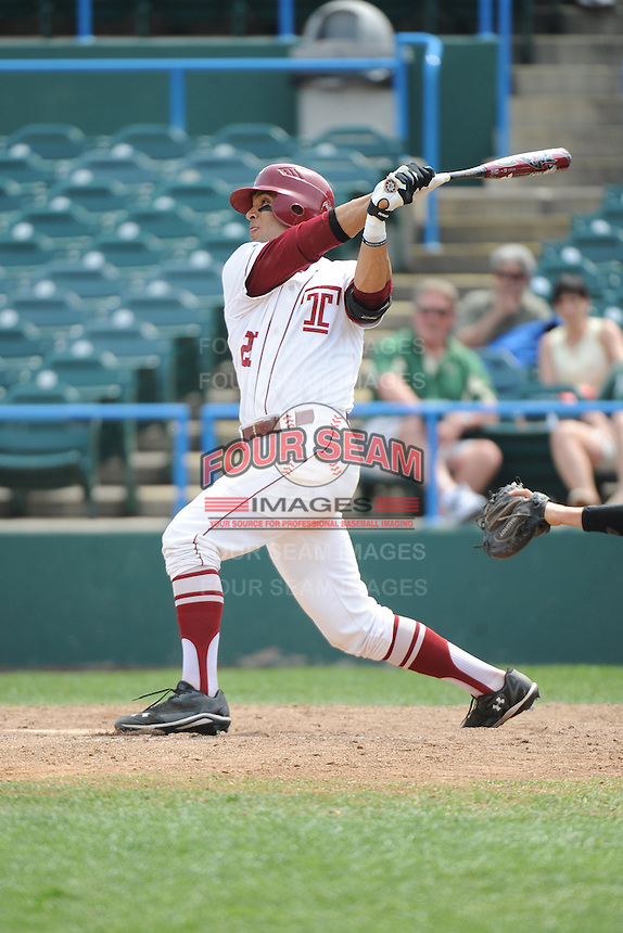 Temple University Owls infielder Robert Amaro (20) during a game against the University of South Florida Bulls at Campbell's Field on April 13, 2014 in Camden, New Jersey. USF defeated Temple 6-3.  (Tomasso DeRosa/ Four Seam Images)