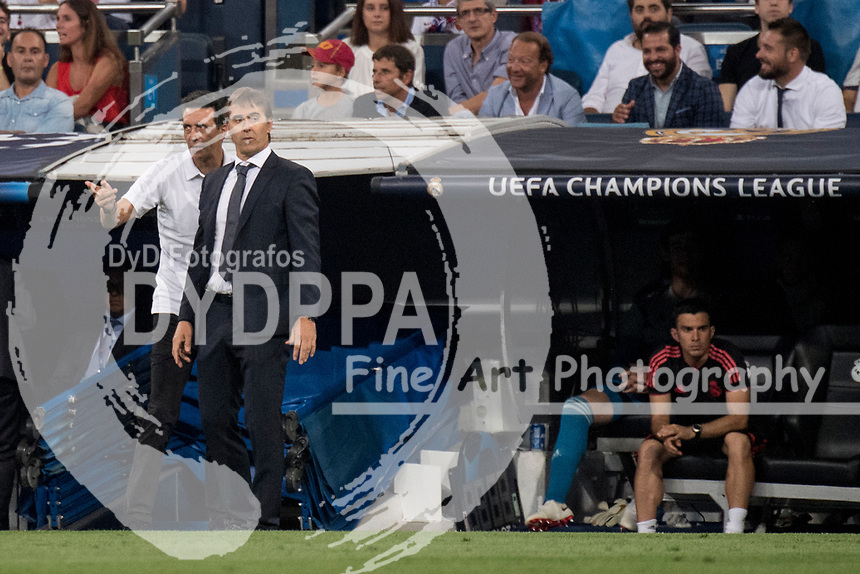 Uefa Champions League football match Real Madrid vs AS Roma at the Santiago Bernabeu stadium in Madrid on September 19, 2018.<br /> <br /> Julen Lopetegui