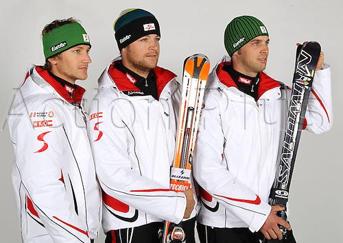 16.10.2010  Winter sports OSV Einkleidung Innsbruck Austria. Free Ski Freestyle Skiing OSV Austrian Ski Federation. Picture shows Thomas Zangerl Patrick Koller and Andreas Matt AUT