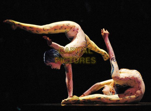 "CIRQUE DU SOLEIL.""Algeria""  show.Royal Albert Hall, Kensington.London England  4th January 2007.duo contorsion: Oyen-Erdene Senge, Ulzibuyan Mergen.full length contortionist .CAP/PL.©Phil Loftus/Capital Pictures"