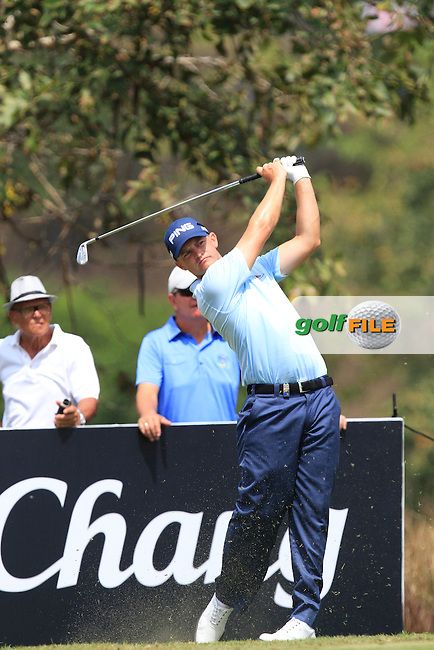 Tom Lewis (ENG) on the 8th tee during Round 4 of the True Thailand Classic at the Black Mountain Golf  Club on Sunday 15th February 2015.<br /> Picture:  Thos Caffrey / www.golffile.ie
