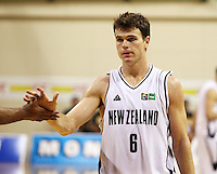 Tall Blacks captain Kirk Penney celebrates scoring from a penalty during the International basketball match between the NZ Tall Blacks and Australian Boomers at TSB Bank Arena, Wellington, New Zealand on 25 August 2009. Photo: Dave Lintott / lintottphoto.co.nz