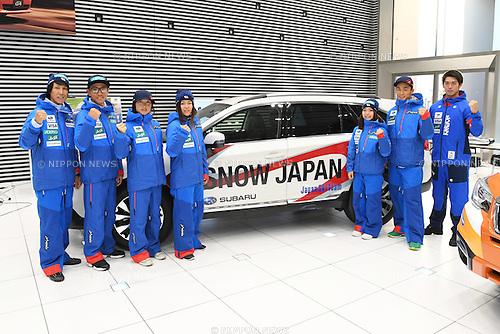 (L-R) Noriaki Kasai, <br /> Akito Watabe, <br /> Masako Ishida, <br /> Ayana Onozuka, <br /> Sara Takanashi, <br /> Naoki Yuasa, <br /> Shinya Momono, <br /> NOVEMBER 1, 2016 - Skiing :<br /> 2016/2017 SAJ Team Japan TAKE OFF Press Conference<br /> at SUBARU STAR SQUARE, Tokyo, Japan.<br /> (Photo by AFLO SPORT)