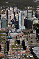 aerial photograph of the Apartments Jardins Windsor toward Bell Center the sports arena and financial district high rises, Montreal, Quebec, Canada