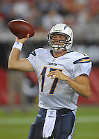 Aug 25, 2007; Glendale, AZ, USA; San Diego Chargers quarterback Philip Rivers (17) throws a pass in the first quarter against the Arizona Cardinals at University of Phoenix Stadium. Mandatory Credit: Mark J. Rebilas-US PRESSWIRE Copyright © 2007 Mark J. Rebilas