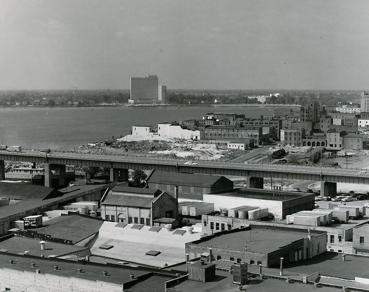 1962 October 09..Redevelopment.Downtown South (R-9)..View looking West-Southwest.Portsmouth Naval Hospital in distance..HAYCOX PHOTORAMIC INC..NEG# C62-599-4.NRHA# 1020-F..