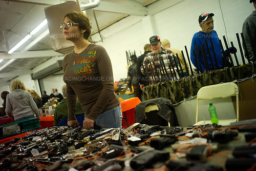 Lima, Ohio.January 2012..Gun show at the Allen County Fairgrounds. There were 450 tables with vendors selling hunting equipment, guns, knives, archery gear, and other sporting goods.