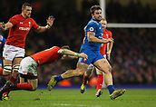 17th March 2018, Principality Stadium, Cardiff, Wales; NatWest Six Nations rugby, Wales versus France; Marco Tauleigne of France tries to pull away from Liam Williams of Wales