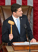 Incoming Speaker of the United States House of Representatives Paul Ryan (Republican of Wisconsin) wields the gavel for the first time as he makes opening remarks in the US House Chamber in the US Capitol in Washington, DC on Thursday, October 29, 2015.<br /> Credit: Ron Sachs / CNP