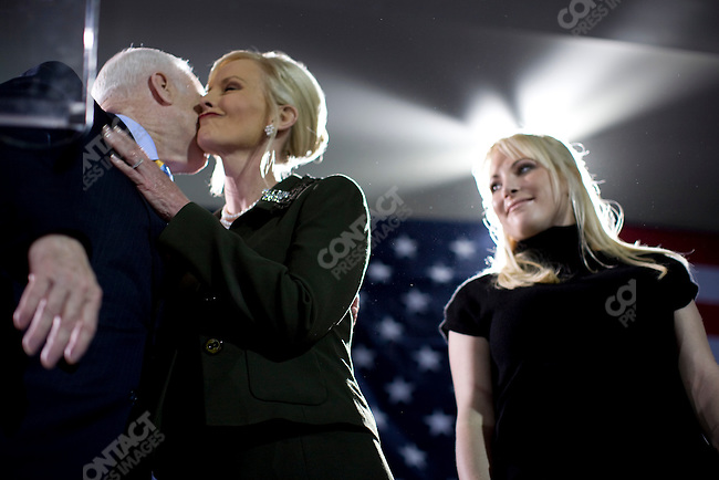 Senator John McCain, Republican presidential candidate, celebrated his victory in the Florida primary with his wife, Cindy, and daughter, Meghan.  Miami, Florida, January 29, 2008.