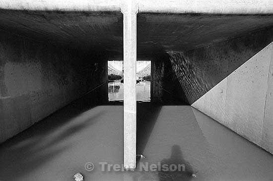 Trent shadow and concrete tunnels in San Ramon Creek.<br />