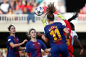28th March 2018, Mini Estad, Barcelona, Spain; Womens Champions League football, quarter final, 2nd leg, Barcelona Women versus Lyon Women; Sandra Panos of FC Barcelona heads the ball clear in her area