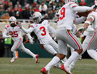 Ohio State Buckeyes cornerback Damon Arnette Jr. (3) tips a pass from Michigan State Spartans quarterback Brian Lewerke (14) during the first quarter of the NCAA football game at Spartan Stadium in East Lansing, Mich. on Nov. 10, 2018. [Adam Cairns/Dispatch]