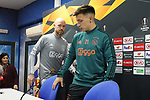 AFC Ajax's coach Erik ten Hag (l) and Lisandro Martinez in press conference after training session. February 19,2020.(ALTERPHOTOS/Acero)