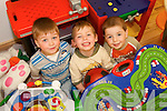 BOYS AT PLAY: TIME: Enjoying some of the toys at Meningitis Trust Coffee Morning and Fun Day at the Duagh family Resource Centre on Friday last were Eoin Shanahan, Donnacha Maher and Shane Flynn.