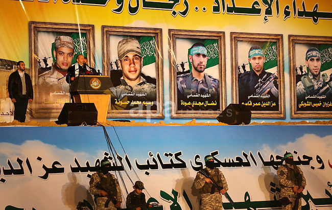 Senior Hamas leader Khalil al-Hayah speaks during a gathering to pay tribute to the brigade's militants who died after a tunnel collapsed in the Gaza Strip on January 31, 2016 in Gaza city. Seven Hamas militants were killed on January 28, 2016 after a tunnel built for fighting Israel collapsed in the Gaza Strip, highlighting concerns that yet another conflict could eventually erupt in the Palestinian enclave. Photo by Mohammed Asad
