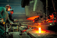 Molten hot metal during the manufacturing of steel as a product of this factory. Newport Kentucky United States Newport Steel.