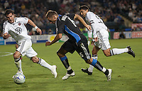 Darren Huckerby (6) tries to drive through Chris Pontius (left) and Jaime Moreno (right). The San Jose Earthquakes tied DC United 2-2 at Buck Shaw Stadium in Santa Clara, California on July 25, 2009.
