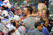 3rd February 2019, Atlanta Georgia, USA; NFL Superbowl LIII, New England Patriots versus Los Angeles Rams;   New England Patriots quarterback Tom Brady (12) and his daughter Vivian hold the Vince Lombardi Trophy after winning Super Bowl LIII