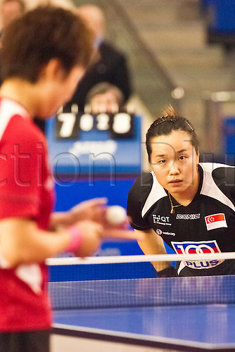 29.01.2011 English Open ITTF Pro Tour Table Tennis from the EIS in Sheffield. Beibei Sun of Singapore plays Tianwei Feng of Singapore