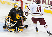 Derek Shatzer (CC - 30), Colin White (BC - 18) - The Boston College Eagles defeated the visiting Colorado College Tigers 4-1 on Friday, October 21, 2016, at Kelley Rink in Conte Forum in Chestnut Hill, Massachusetts.The Boston College Eagles defeated the visiting Colorado College Tiger 4-1 on Friday, October 21, 2016, at Kelley Rink in Conte Forum in Chestnut Hill, Massachusett.