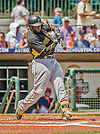 22 March 2015: Pittsburgh Pirates infielder Josh Harrison leads off a Spring Training game against the Houston Astros at Osceola County Stadium in Kissimmee, Florida. The Astros defeated the Pirates 14-2 in Grapefruit League play. Mandatory Credit: Ed Wolfstein Photo *** RAW (NEF) Image File Available ***