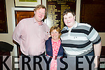 Pictured at the tea dance on Sunday in Fr. Caseys GAA clubhouse Abbeyfeale in aid of Brendan Laffan, Kilfinny, who lost his sight at the age of two after developing a brain tumour.  The funds raised will go towards a guide dog for the blind to help Brendan live more independently.  L-R: Mike, Margaret and Brendan Laffan, Kilfinny.