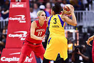 Washington, DC - August 17, 2018: Washington Mystics guard Elena Delle Donne (11) guards Los Angeles Sparks forward Candace Parker (3) during game between the Washington Mystics and Los Angeles Sparks at the Capital One Arena in Washington, DC. (Photo by Phil Peters/Media Images International)
