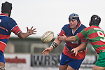 Shannon Guy gets the pass away to Sikeli Nabou as he is taken in a tackle by Graeme Brent. Counties Manukau Premier rugby game between Waiuku & Ardmore Marist played at Waiuku on Saturday May 10th 2008..Ardmore Marist won 27 - 6 after leading 10 - 6 at halftime.