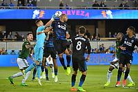 San Jose, CA - Saturday May 06, 2017: David Bingham, Victor Bernardez during a Major League Soccer (MLS) match between the San Jose Earthquakes and the Portland Timbers at Avaya Stadium.