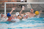 LOS ANGELES, CA - DECEMBER 03:  McQuin Baron (1) of the University of Southern California attempts to block a shot during the Division I Men's Water Polo Championship held at the Uytengsu Aquatics Center on the University of Southern California campus on December 3, 2017 in Los Angeles, California. UCLA defeated USC 5-7 to win the National Championship. (Photo by Justin Tafoya/NCAA Photos via Getty Images)