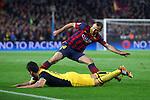 UEFA Champions League 2013/2014.<br /> Quarter-finals 1st leg.<br /> FC Barcelona vs Club Atletico de Madrid: 1-1.<br /> Javier Marcherano vs Koke.