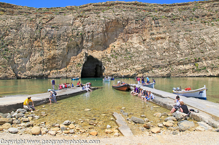 The Inland Sea tourist attraction, Dwerja Bay, island of Gozo, Malta